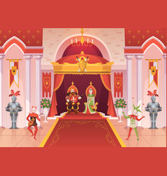 king and queen interior medieval royal palace vector image
