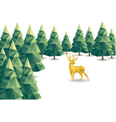 Low poly christmas scene with reindeer and pines vector