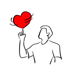 man spinning red heart shape sign on his finger vector image