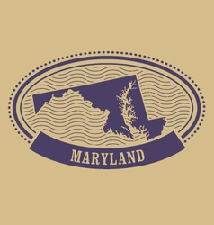 Maryland map silhouette - oval stamp vector