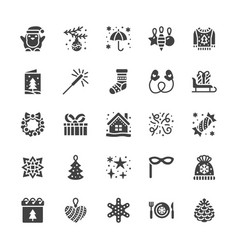 merry christmas flat glyph icons pine tree toys vector image