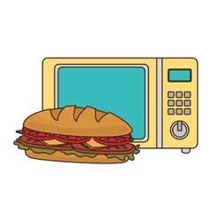 Microwave oven with fast food vector