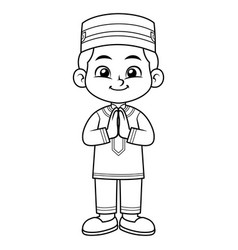 Moslem boy greeting salaam ramadan bw vector
