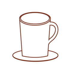 Mug coffee plate thin line vector