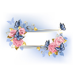 narrow banner with pink roses vector image