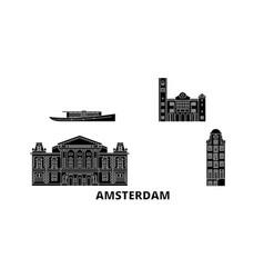netherlands amsterdam flat travel skyline set vector image