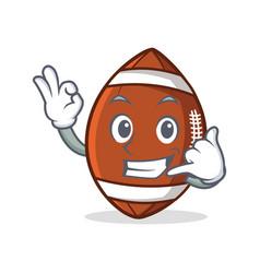 okay american football character cartoon call me vector image