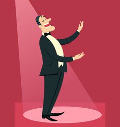 Opera singer man sings in theater vector