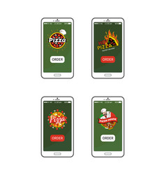 pizza hot pizzeria collection vector image