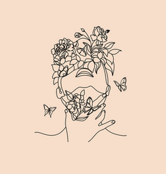 plant head woman art print woman with plants vector image