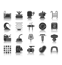 pool equipment black silhouette icons set vector image