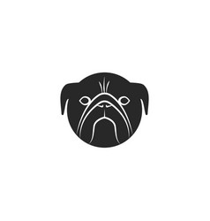 pug dog head logo black and white vector image