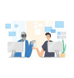robot and man sitting at computers and working vector image