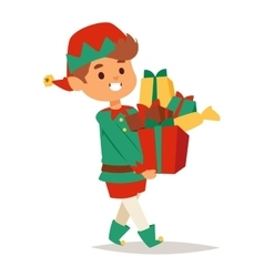 Santa Claus kid cartoon elf helper vector