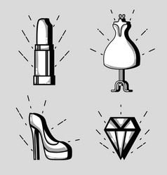 Set fashion patches trendy design vector