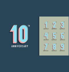 set of anniversary logotype modern anniversary vector image