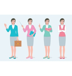 Set of female teacher vector