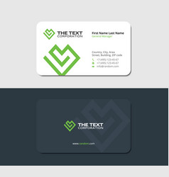 Sleek business card with a green heart vector