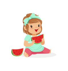 sweet little girl enjoying eating watermelon vector image