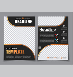 template 2 a4 pages in black with bronze elements vector image