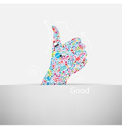 Template design Like symbol and social network vector image