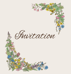 template for invitation card with decoration from vector image