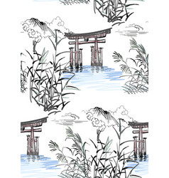 temple nature landscape view sketch japanese vector image
