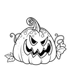 Terrible lantern from pumpkin with cut out of vector