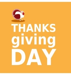 Thanksgiving day card with turkey and text in vector