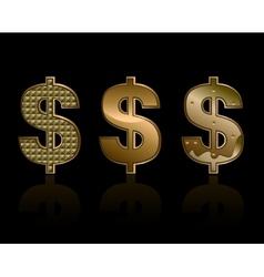 Three dollar signs vector image