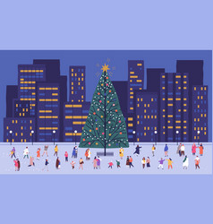tiny people walking around big christmas tree vector image