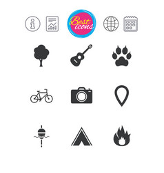 Tourism camping icons fishing fire and bike vector