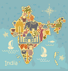 Traditional symbols of india in the form of a vector