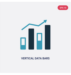 two color vertical data bars icon from user vector image
