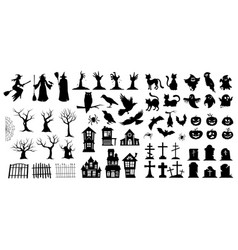 very large set black halloween silhouettes vector image