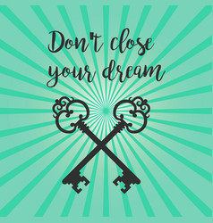 vintage crossed keys silhouette with text vector image