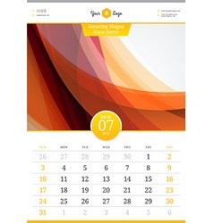 Wall calendar 2016 july template with abstract vector