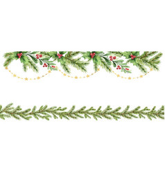watercolor christmas garland with fir vector image