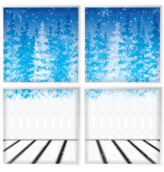 Winter through a window vector