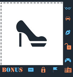 Woman shoes icon flat vector