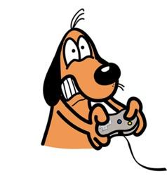 Xbox addicted dog vector