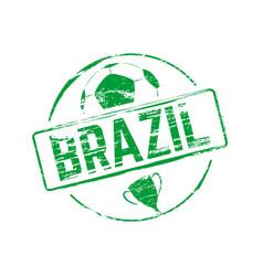 brazil soccer stamp vector image vector image