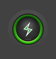 dark glossy circle lightning button vector image