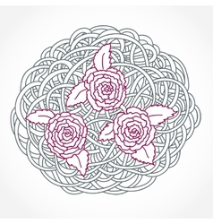 Floral Rose Round Composition vector image vector image