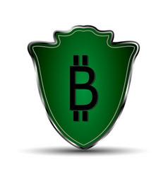 green shield with bitcoin symbol vector image