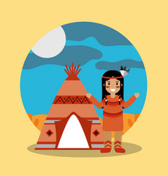 native american indian standing teepee landscape vector image vector image