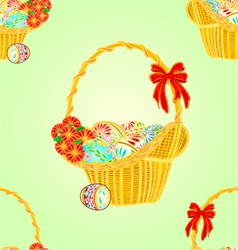 Seamless texture wicker basket and easter eggs vector image vector image