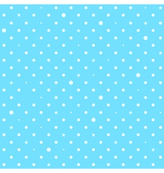 Sky Blue White Star Polka Dots Background vector image vector image