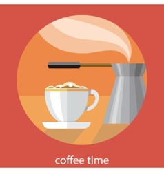 Vintage card of coffe time vector image vector image