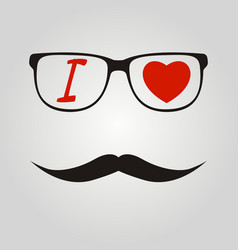 i love hipster mustache and glasses vector image vector image
